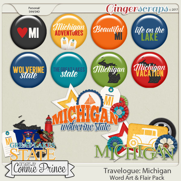 Travelogue Michigan - Word Art & Flair Pack