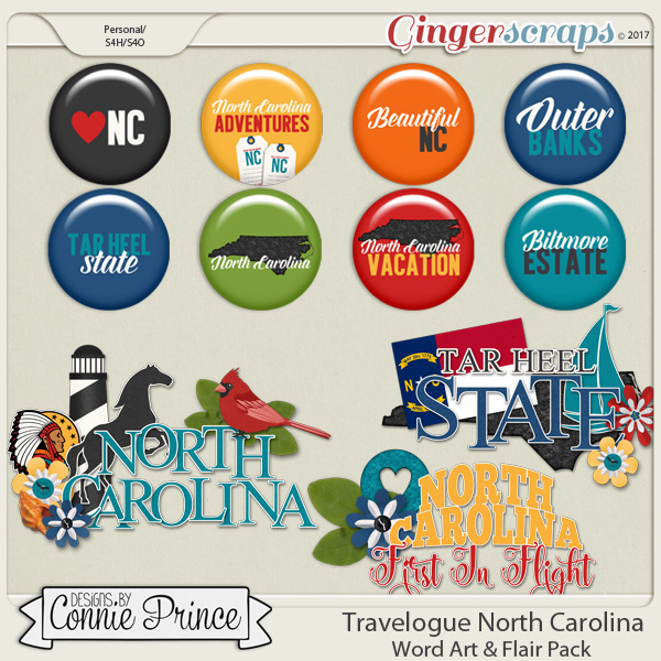Travelogue North Carolina - Word Art & Flair Pack
