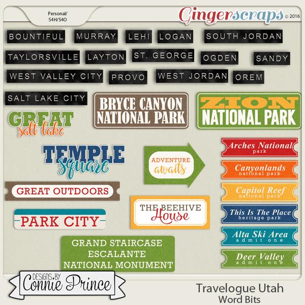 Travelogue Utah - Word Bits