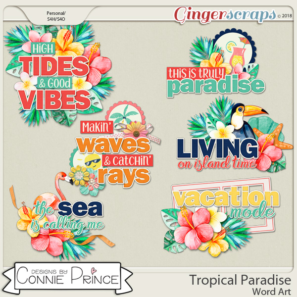 Tropical Paradise - WordArt Pack by Connie Prince