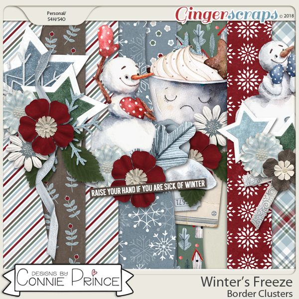 Winter's Freeze - Border Clusters by Connie Prince