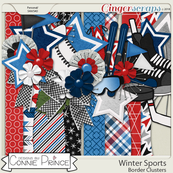 Winter Sports - Border Clusters by Connie Prince