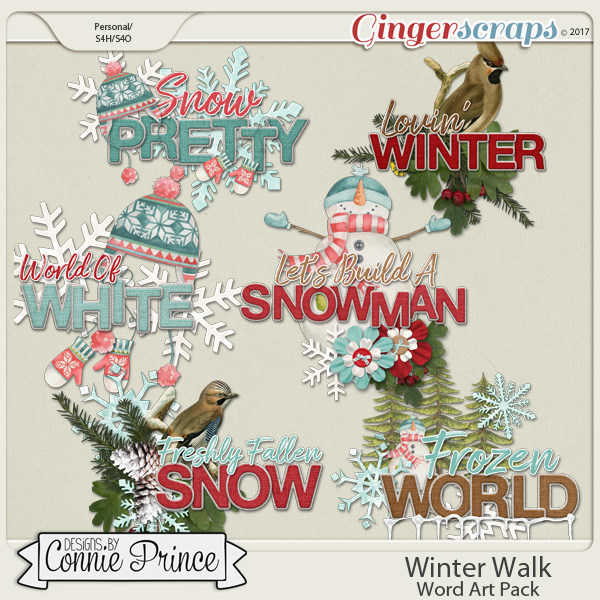 Winter Walk - Word Art Pack by Connie Prince