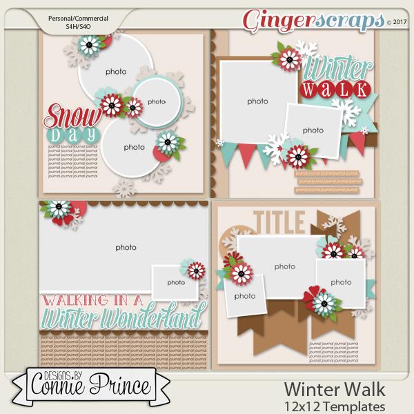 Winter Walk - 12x12 Templates (CU Ok) by Connie Prince