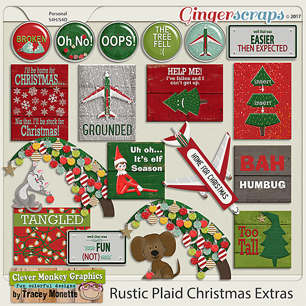 Rustic Plaid Christmas Extras by Clever Monkey Graphics