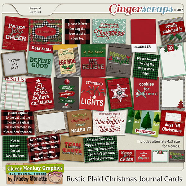 Rustic Plaid Christmas Journal Cards by Clever Monkey Graphics