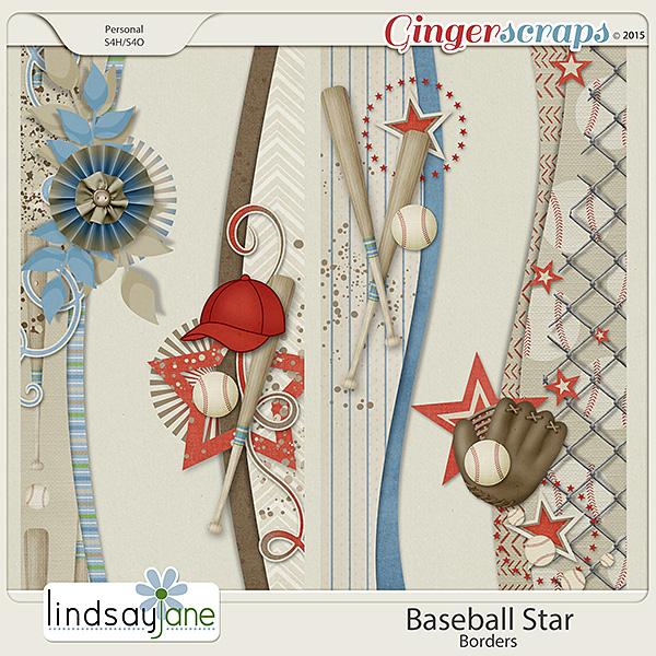 Baseball Star Borders by Lindsay Jane