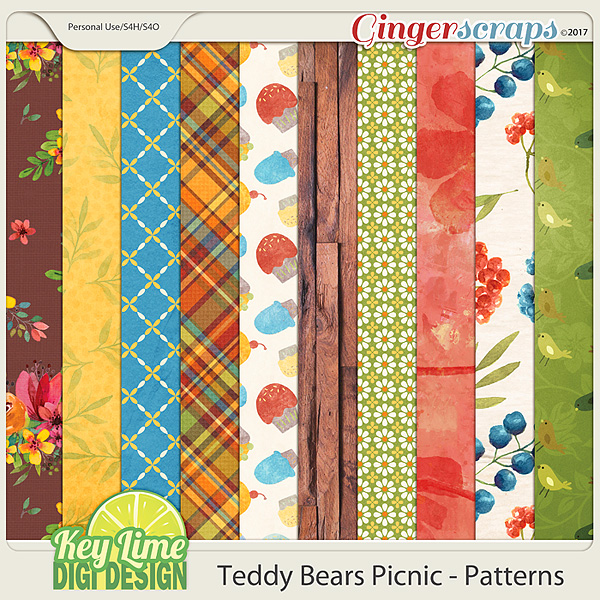 Teddy Bears Picnic Pattern Papers by Key Lime Digi Design