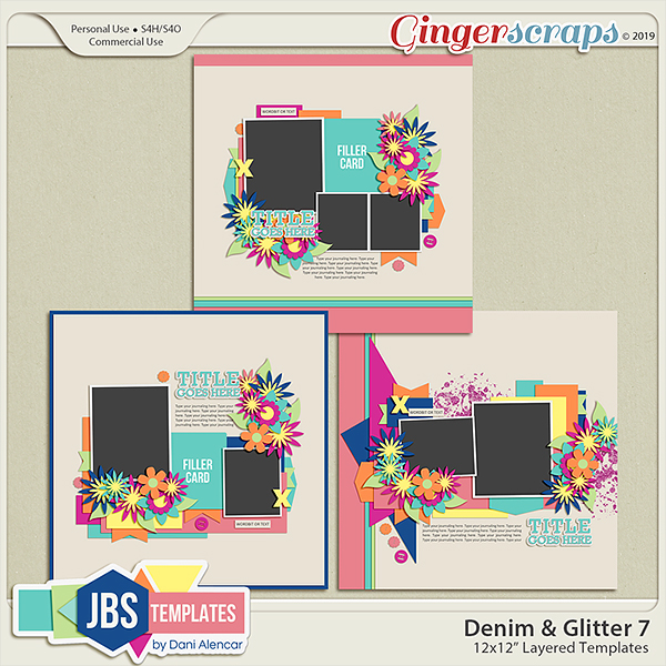 Denim & Glitter 7 Templates (Commercial Use)