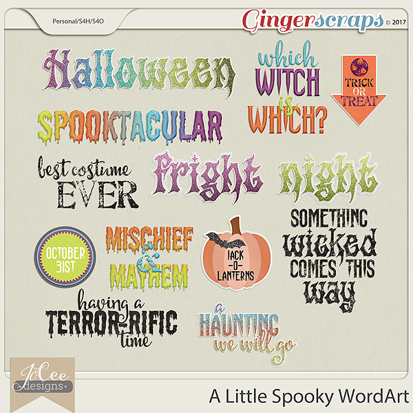 A Little Spooky Word Art Pack by JoCee Designs