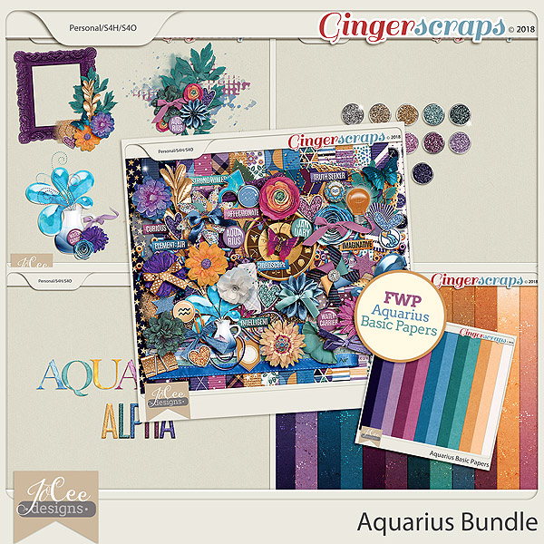 Aquarius Bundle including FWP of the Aquarius Basic Paper Pack by JoCee Designs