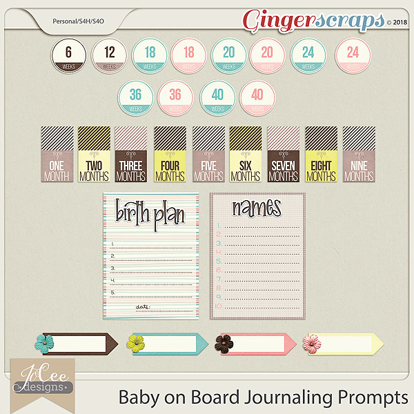 Baby on Board Journaling Prompts by JoCee Designs