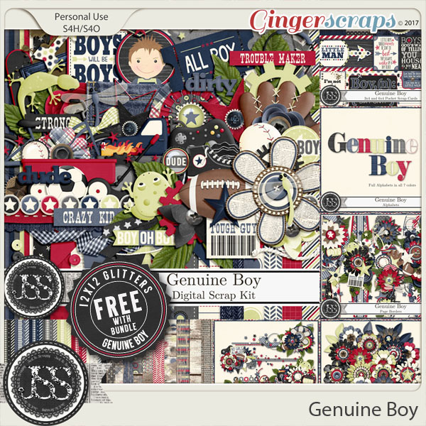 Genuine Boy Digital Scrapbook Bundle