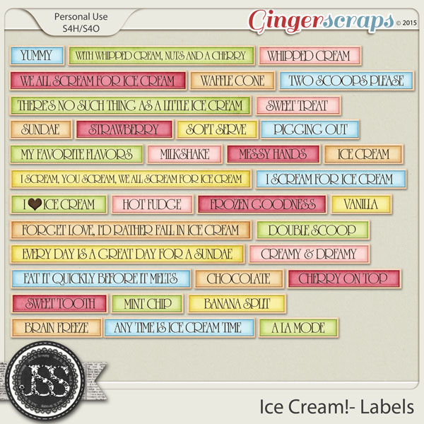 Ice Cream Word Labels