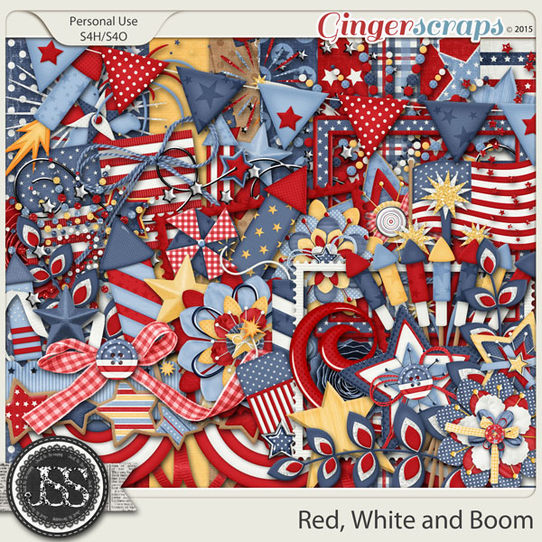 Red White and Boom Digital Scrapbook Kit