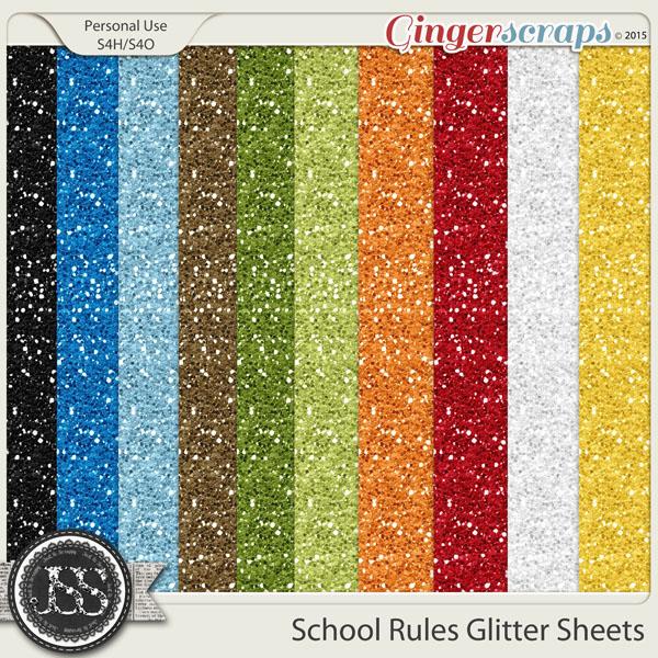 School Rules Glitter Sheets
