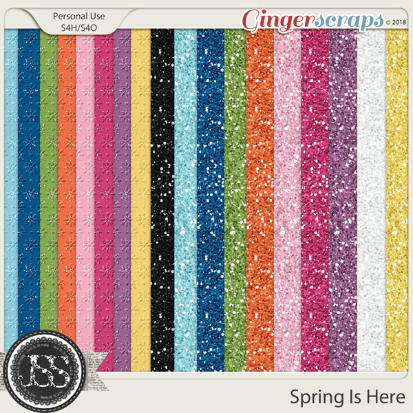 Spring Is Here 12x12 Glitter Papers