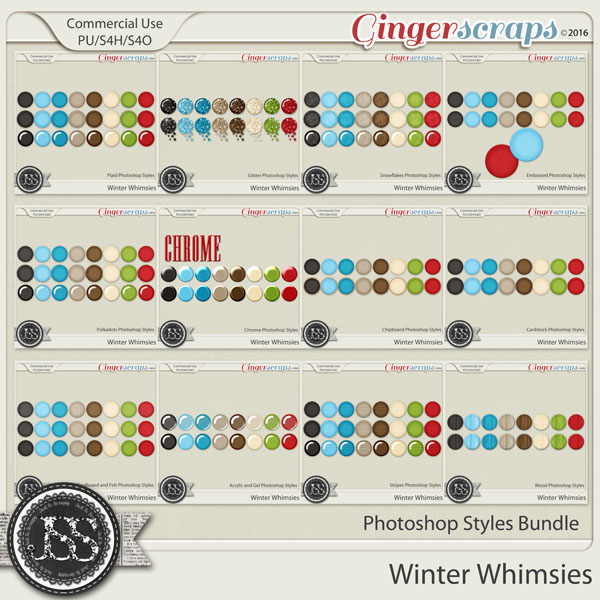 Winter Whimsies CU Photoshop Styles Bundle