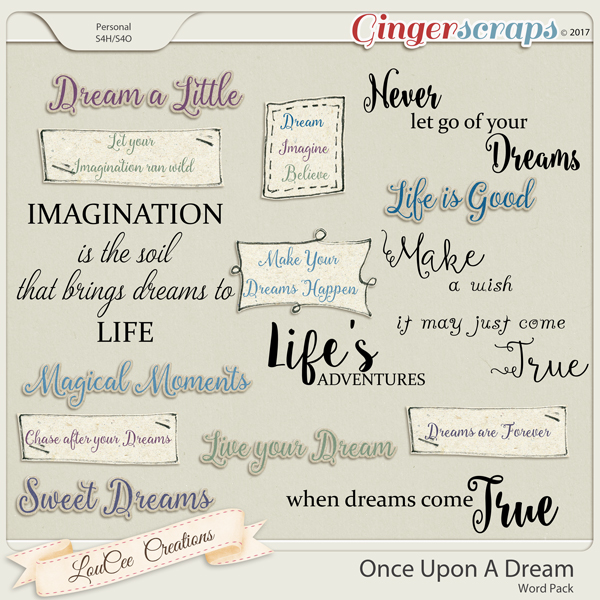 Once Upon A Dream Words by LouCee Creations