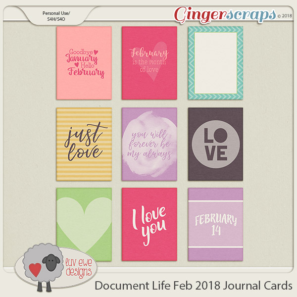 Document Life February 2018 Journal Cards by Luv Ewe Designs