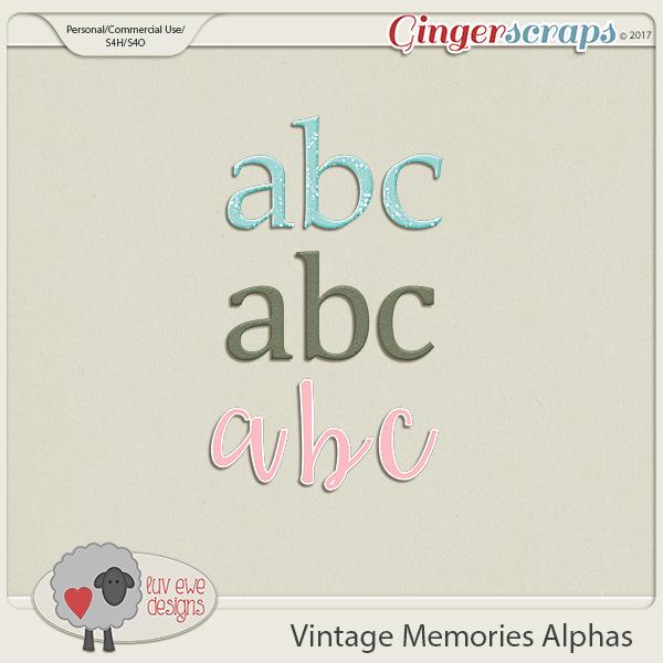 Vintage Memories Alphas by Luv Ewe Designs