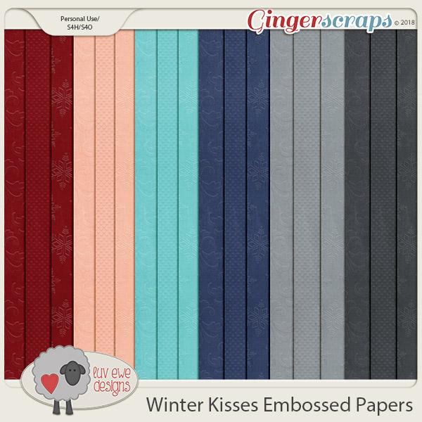 Winter Kisses Embossed Papers by Luv Ewe Designs
