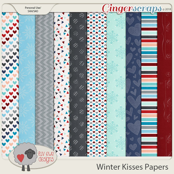 Winter Kisses Papers by Luv Ewe Designs