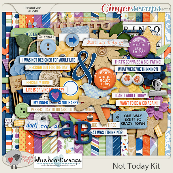 Not Today Kit by Luv Ewe Designs and Blue Heart Scraps