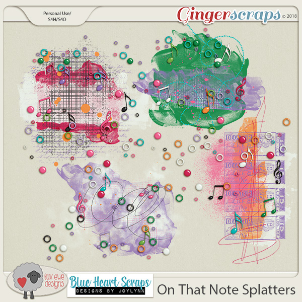 On That Note Splatters by Luv Ewe Designs and Blue Heart Scraps