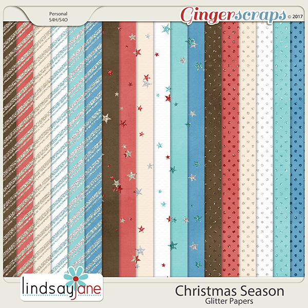 Christmas Season Glitter Papers by Lindsay Jane