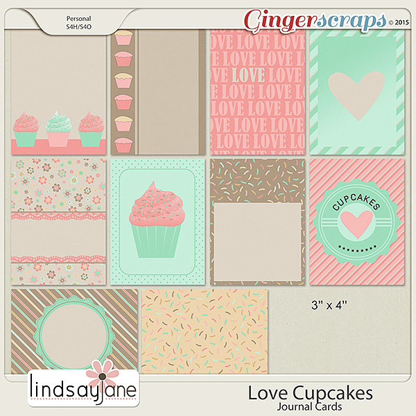 Love Cupcakes Journal Cards by Lindsay Jane