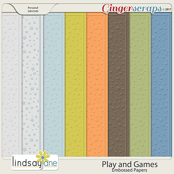 Play and Games Embossed Papers by Lindsay Jane