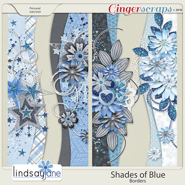 Shades of Blue Borders by Lindsay Jane