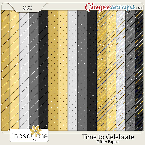 Time to Celebrate Glitter Papers by Lindsay Jane