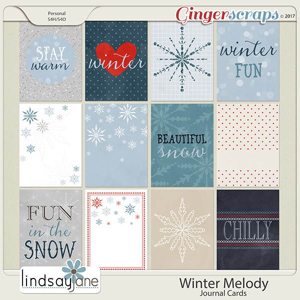 Winter Melody Journal Cards by Lindsay Jane