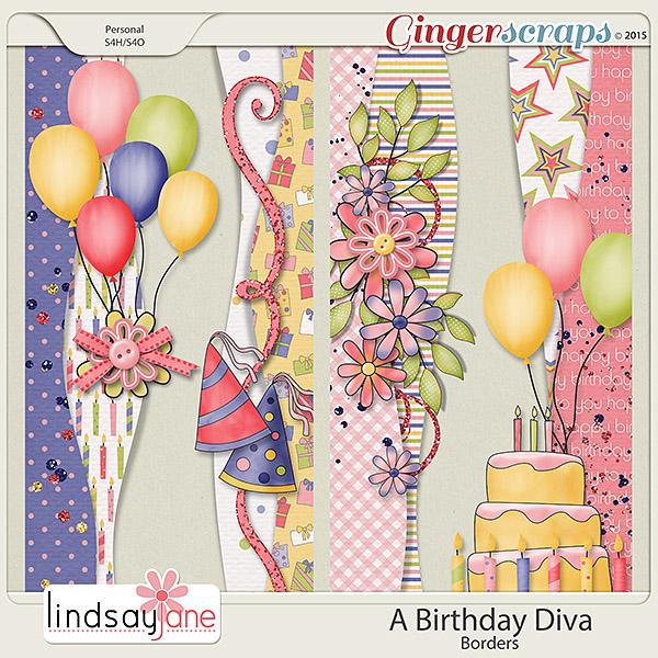 A Birthday Diva Borders by Lindsay Jane