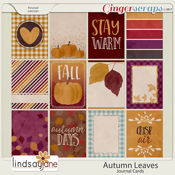 Autumn Leaves Journal Cards by Lindsay Jane