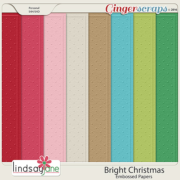 Bright Christmas Embossed Papers by Lindsay Jane