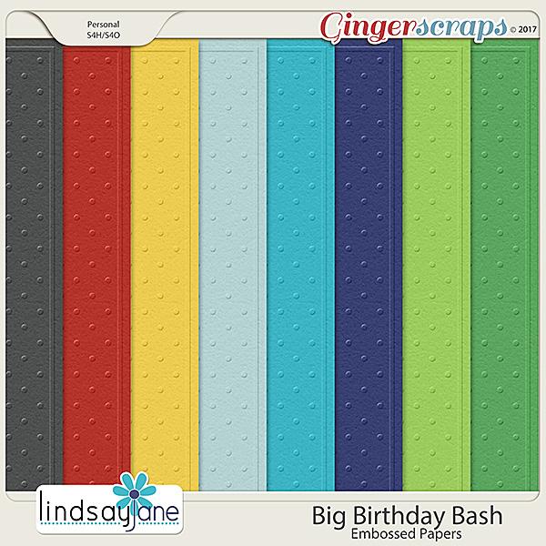 Big Birthday Bash Embossed Papers by Lindsay Jane