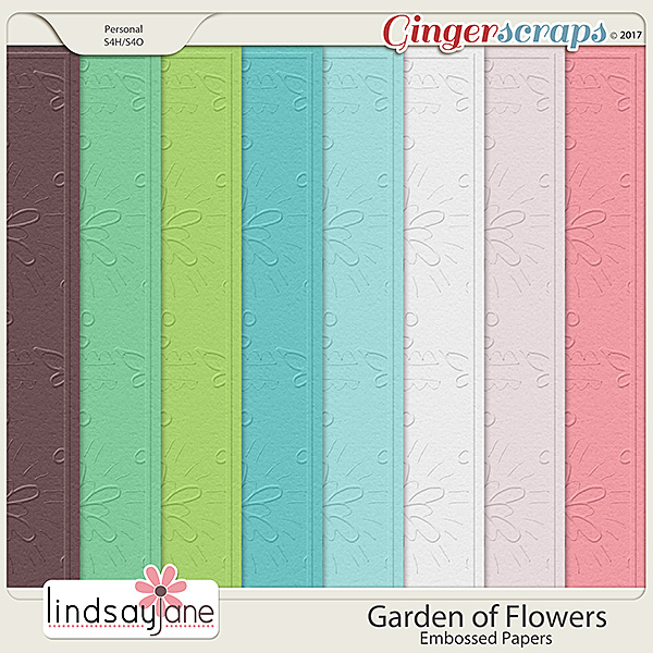 Garden of Flowers Embossed Papers by Lindsay Jane