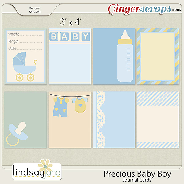 Precious Baby Boy Journal Cards by Lindsay Jane