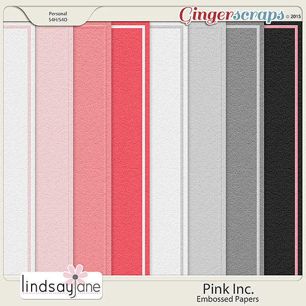 Pink Inc Embossed Papers by Lindsay Jane