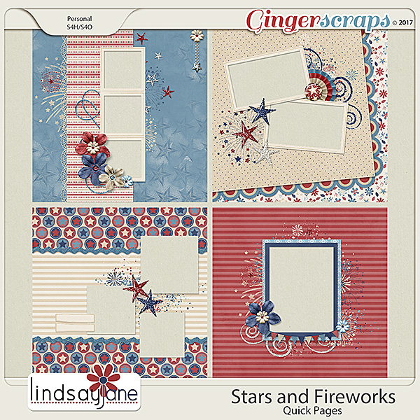 Stars and Fireworks Quick Pages by Lindsay Jane