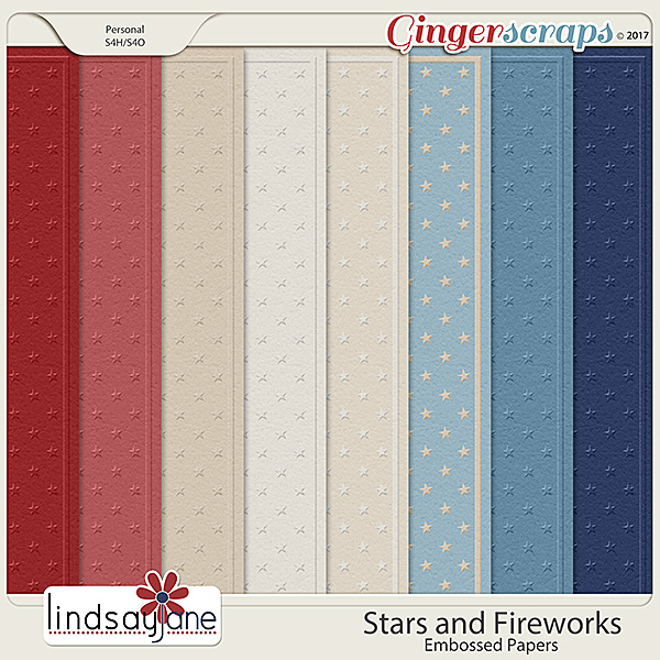 Stars and Fireworks Embossed Papers by Lindsay Jane