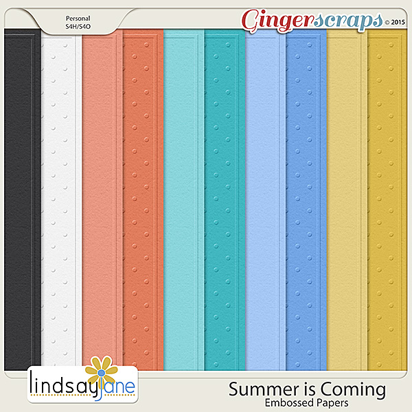 Summer is Coming Embossed Papers by Lindsay Jane