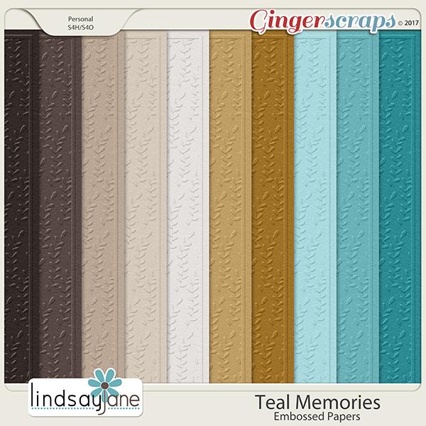 Teal Memories Embossed Papers by Lindsay Jane
