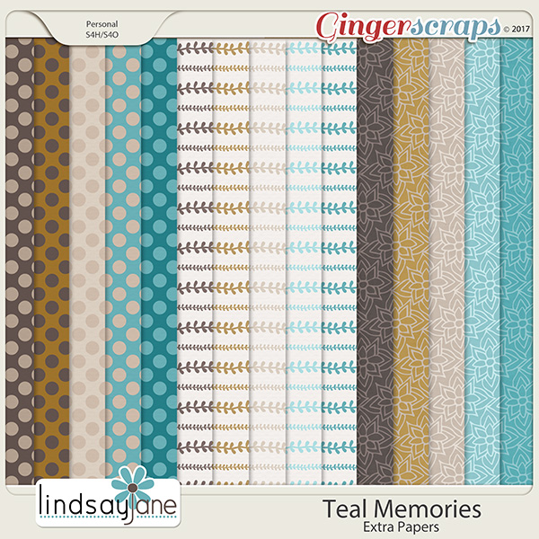 Teal Memories Extra Papers by Lindsay Jane