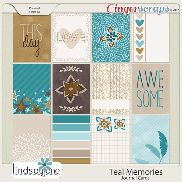 Teal Memories Journal Cards by Lindsay Jane