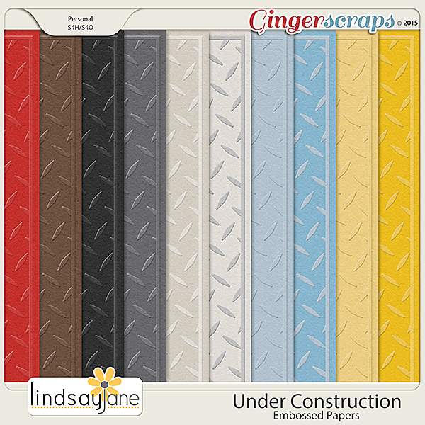 Under Construction Embossed Papers by Lindsay Jane