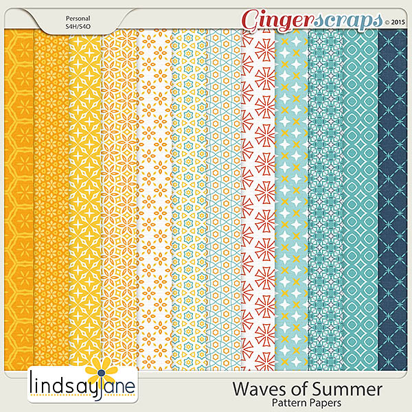Waves of Summer Pattern Papers by Lindsay Jane